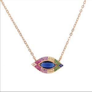 Jewelry - 🌈 rainbow lucky evil eye rose gold pendant